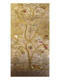 A Wall Hanging of Red Silk, Embroidered with a Tree of Life in Gilt Thread and Silks Prints