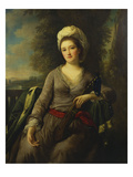 Portrait of a Lady, Thought to Be Mrs Wells, Wearing a Grey Dress with a Red Sash and an Ermine… Giclee Print by Nathaniel Dance-Holland