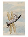 A Fairy Reclining on a Dragonfly Giclee Print by Amelia Jane Murray