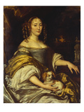 Portrait of a Young Lady, Seated Three-Quarter Length, in a Blue Dress, with a Lapdog, a Garden… Posters by Abraham van den Tempel