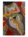 Female Nude (Reading); Weiblicher Akt (Lesend) Art by Ernst Ludwig Kirchner