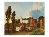 A View of Harrow, with St. Marys Church and the Old Schools Building and Yard Poster by George Clint (Attr to)