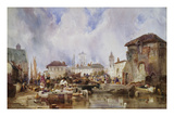 The Market on the Quay, Bruges Prints by Samuel Austin
