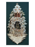 An Embossed Victorian Christmas Card in the Shape of a Snow Covered Christmas Tree Prints