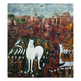 Limoges Enamel Plaque Illustrating Virgil's Aeneid, the Trojan Horse Releasing it's Greek Soldiers Giclee Print