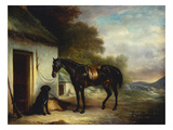 Mr Stuart's Favourite Hunter, Vagabond and His Flatcoated Retriever, Nell by a Cottage Door Art by Sr, John Ferneley