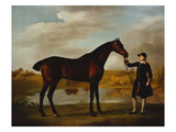 The Duke of Marlborough's () Bay Hunter, with a Groom in Livery in a Lake Landscape Lámina por George Stubbs