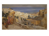 Arab Woman on a Rooftop, Algiers Beyond Lmina gicle por Frederick Arthur Bridgman