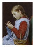 A Girl Knitting Giclee Print by Albert Anker