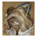 Woman Washing Her Back with a Sponge; Femme S'Epongeant Le Dos Art by Edgar Degas