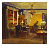 Henrik and Margrethe Dam with their Father Emil in the Drawing Room Giclee Print by Poul Friis Nybo