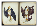 A Pair of Costume Designs for 'Juive' Depicting Female Dancers Art by Leon Bakst