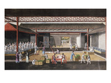 A Chinese Export Painting Depicting a Storage House Interior with Figures Packaging and Weighing… Prints