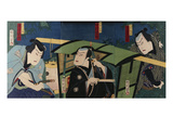 An Oban Triptych Depicting a Nocturnal Scene with Three Actors before a Pal Prints by Toyohara Kunichika