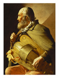 A Blind Hurdy-Gurdy Player, Seated Three-Quarter Length, in Profile to the Left Reproduction proc&#233;d&#233; gicl&#233;e par Georges de La Tour