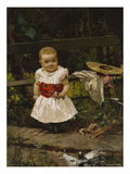 A Child by a Bench Giclee Print by Pietro Bouvier