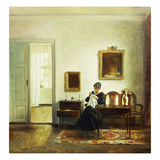 A Woman Sewing in an Interior Impressão giclée por Carl Holsoe