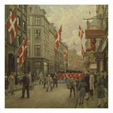The Royal Danish Lifeguards Marching Through Ostergade, Copenhagen Giclee Print by Paul Fischer