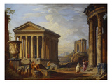 A Capriccio of Classical Ruins with the Maison Caree at Nimes, the Temple of the Sybil at Tivoli,… Art by Giovanni Paolo Panini