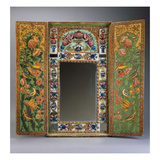 A Large Qajar Painted Mirror and Case, the Interior Doors with Gul-O-Bulbul Designs Painted on a Giclee Print