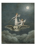 Two Fairies Standing on the Back of an Owl Beneath a Moon Reproduction procédé giclée par Amelia Jane Murray