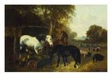 A Farmyard Scene Giclee Print by John Frederick Herring II
