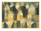 Drei Häuser an der Brücke Poster von Paul Klee