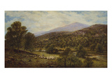 A Wooded River Landscape with a Shepherd and Sheep Posters van Alfred Augustus Glendening