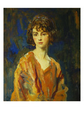 Portrait of the Hon Lois Stuart Ii, Half Length, Wearing an Orange Dress Giclee Print by Ambrose Mcevoy