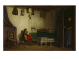 An Interior with a Mother and Children Giclee Print by Albert Anker