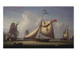 A Yacht of the Royal Yacht Club, with King George Iv on Board, Off the South Coast Giclee Print by Robert Salmon