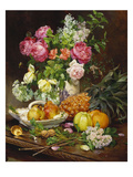 Roses in a Vase, Pears in a Porcelain Bowl and Fruit on an Oak Table Giclee Print by Louis Marie De Schryver