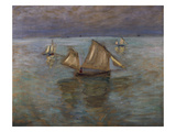 Fishing Boats at Pourville Posters by Claude Monet