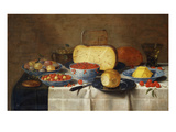 Redcurrants, Wild Strawberries and Plums in Wanli Kraak Porselein Bowls, a Bread Roll on a Pewter… Giclee Print by Floris van Schooten