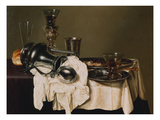 A Jan Steen' Jug, Conical Roemers on a Silver Stand and on a Pewter Plate, a Silver Chalice, a… Giclee Print by Gerret Willemsz. Heda