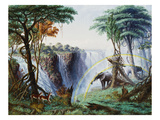 The Mosi-Oa-Tunya (The Smoke That Thunders) or Victoria Falls, Zambesi River Giclée-tryk af Thomas Baines