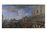 The Arrival of the French Ambassador at the Doge's Palace, Venice; Entree De L'Ambassadeur De… Prints by Luca Carlevaris