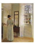 A Lady Looking in a Mirror by an Open Door Poster by Carl Holsoe