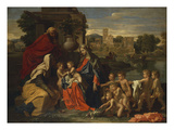 The Holy Family with the Infant Saint John the Baptist and Saint Elizabeth, and with Six Putti… Posters by Nicolas Poussin