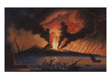 A View of the Bay of Naples with Mount Vesuvius Erupting at Nightfall Giclée-tryk af Italian School