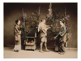 Japan, Japanese Women and Man Flower Arranging Giclee Print