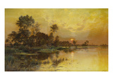 Autumn Evening - Somme Marshes; Soir D&#39;Automne - Marais De La Somme Reproduction proc&#233;d&#233; gicl&#233;e par Albert Gabriel Rigolot