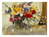 Delphiniums, Roses, Peonies, Dahlias and Other Flowers in a Glass Vase Art by Ferdinand Brod