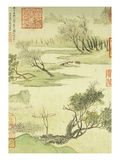 Fishing Boat on a Willow Bank Premium Giclee Print by Wang Hui