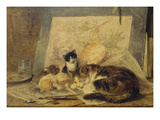 A Sleeping Cat and Kittens in an Artist's Studio Print by Henriette Ronner-Knip