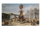 A Triumphal Fountain, Bearing the Habsburg Arms, and Surmounted by a Statue Glorifying a Habsburg Giclee Print by Dirck Stoop (Circle of)