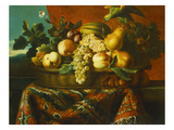 Grapes, Peaches, Plums, Pears and a Melon in a Basket with a Parakeet, a Red Squirrel and a… Prints by Pierre Dupuis