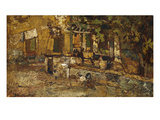 Farmyard with a Donkey and Cockerels; Cour De Ferme Avec Un Ane Et Des Coqs Print by Adolphe Joseph Thomas Monticelli