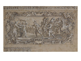 Horatius Slaying His Sister Horatia Outside the Walls of Rome: Design for a Ceiling Decoration… Giclee Print by Giacinto Gimignani Or Gemignano