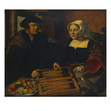 Double Portrait of a Husband and Wife, Half-Lengths, Seated at a Table, Playing Trick-Track Print by Jan Sanders van Hemessen